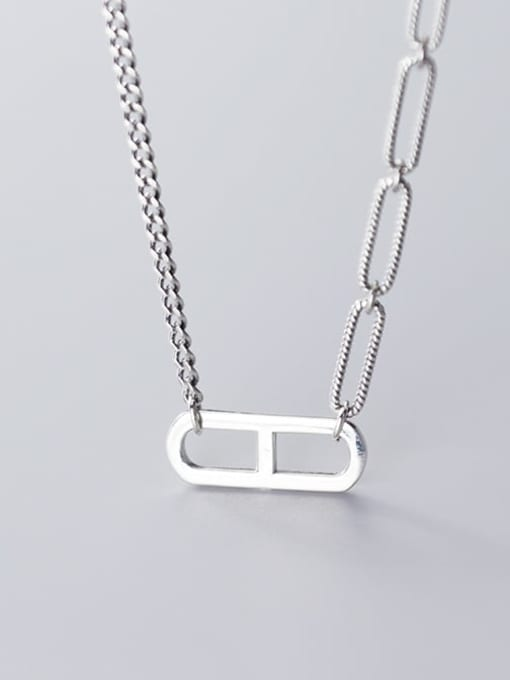 Rosh 925 Sterling Silver Simple hollow geometric pendant Necklace 2