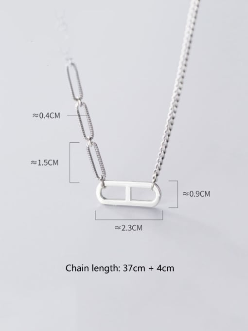 Rosh 925 Sterling Silver Simple hollow geometric pendant Necklace 1