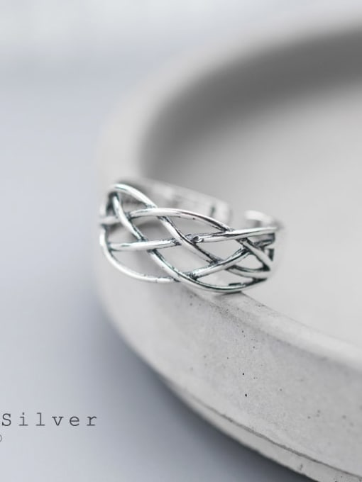 Rosh 925 Sterling Silver Vintage Crossover Line Free Size Ring 2
