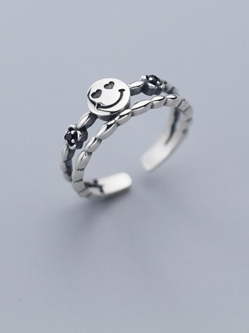 Rosh 925 Sterling Silver  Vintage  double smile Stackable Ring 0