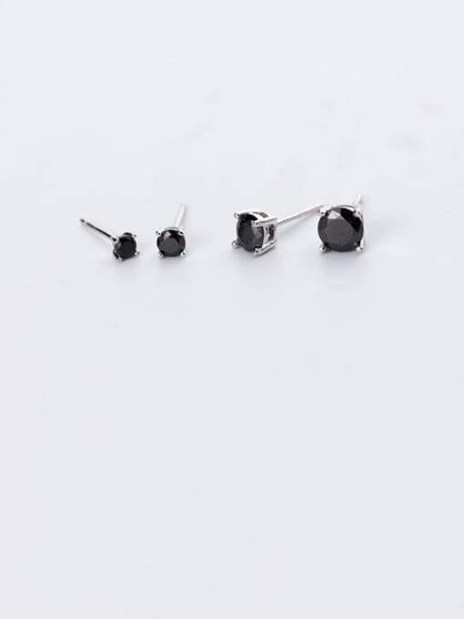 Rosh 925 Sterling Silver Cubic Zirconia Black Round Minimalist Stud Earring