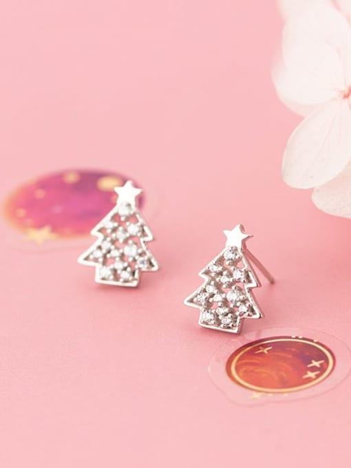 Rosh 925 Sterling Silver Rhinestone  Christmas tree Minimalist Stud Earring 1