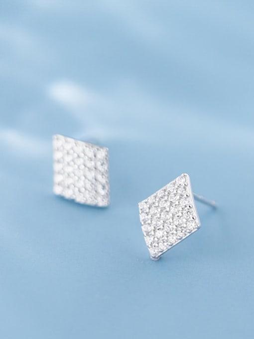 Rosh 925 Sterling Silver Full Rhinestone  Geometric Dainty Stud Earring