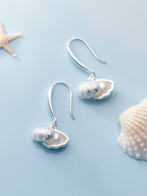 Rosh 925 Sterling Silver Imitation Pearl   Simple Fashion Shell Shape Hook Earring