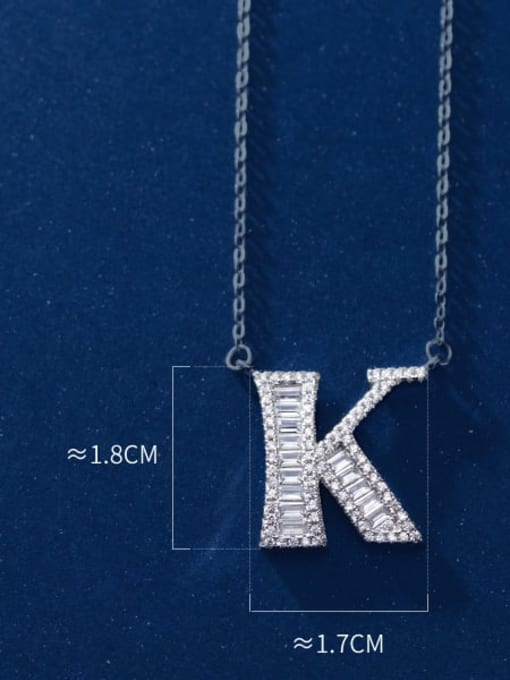 letter K 925 Sterling Silver Simple Fashion full diamond letters pendant  Necklace