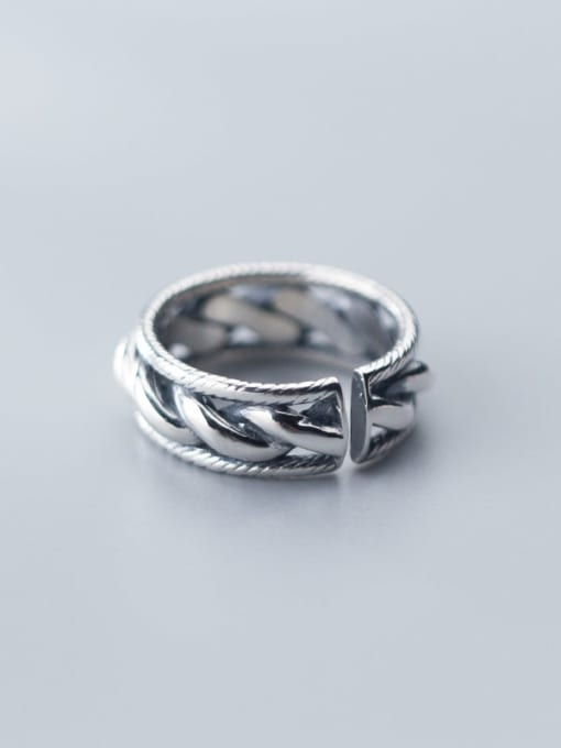 Rosh 925 Sterling Silver  Retro twist multilayer  Free Size Ring 1