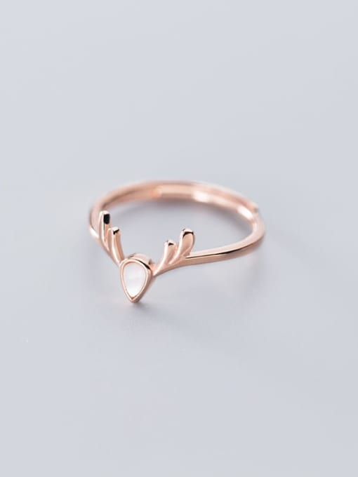 Rosh 925 Sterling Silver Shell Deer Cute Free Size Ring