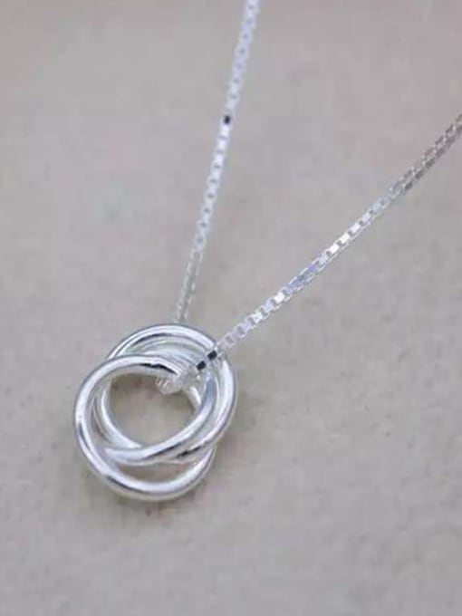 Rosh 925 Sterling Silver Minimalist  Simple fashion three-layer round pendant Necklace 0