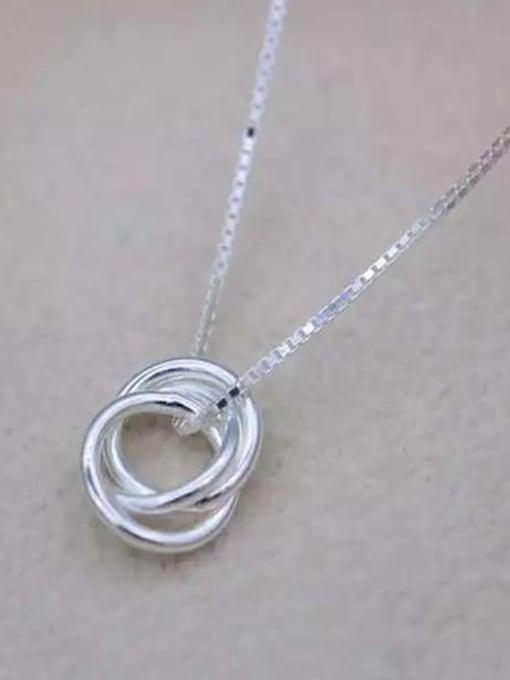 Rosh 925 Sterling Silver Minimalist  Simple fashion three-layer round pendant Necklace