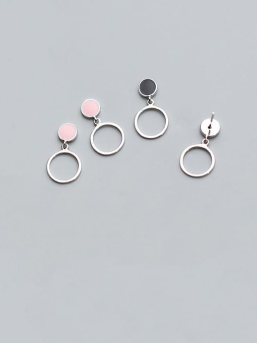 Rosh 925 Sterling Silver Hollow Round  Minimalist Drop Earring 2