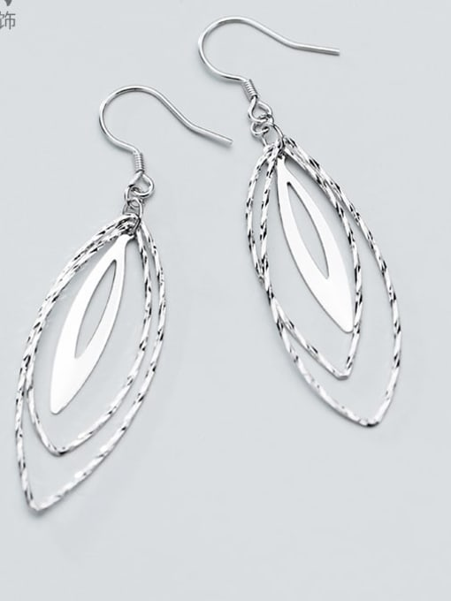 Rosh 925 Sterling Silver Minimalist   Multilayer Hollow Oval Hook Earring
