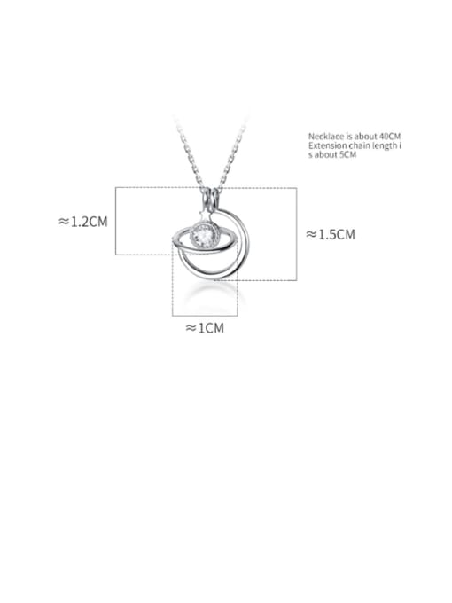 Rosh 925 Sterling Silver Cubic Zirconia Solitaire Planet Necklace 3