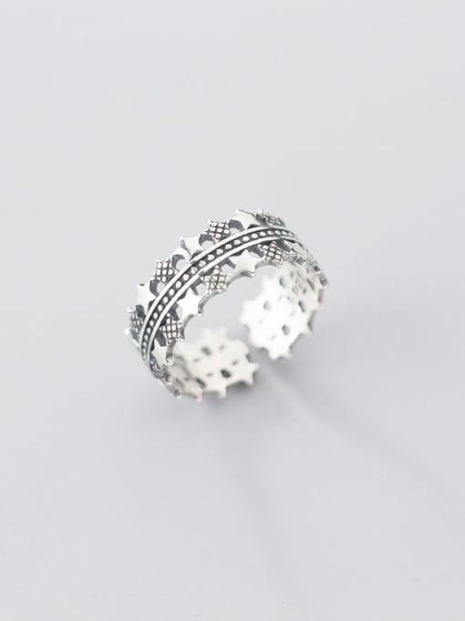 Rosh 925 sterling silver star vintage free size  ring 2