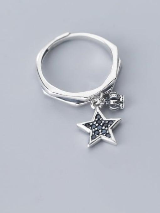 Rosh 925 Sterling Silver  Vintage  Fashion crown pentagram Free Size Ring 1