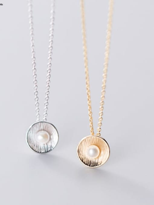 Rosh 925 Sterling Silver Imitation Pearl Round Pendant Necklace 2