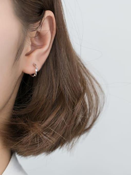 Rosh 925 Sterling Silver Hollow  Round Minimalist Huggie Earring 2