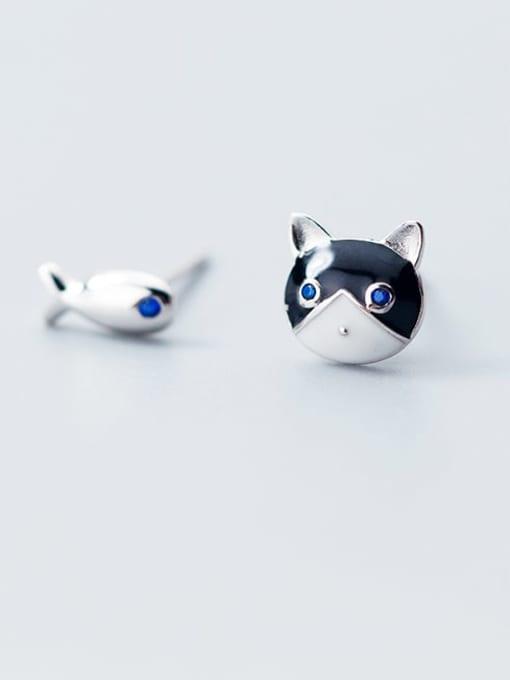 Rosh 925 sterling silver enamel cat minimalist stud earring 1