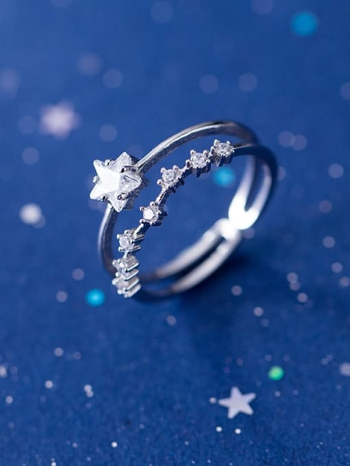 Rosh 925 Sterling Silver Cubic Zirconia White Star Minimalist Stackable Ring 1