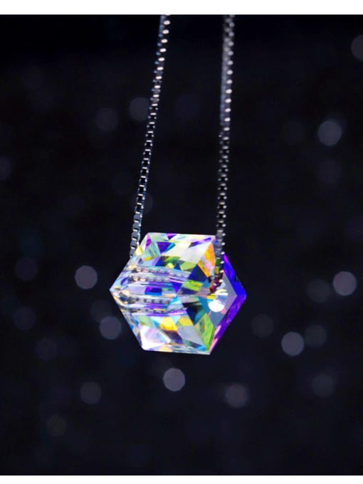 Austrian Crystal 8mm square drill 45cm 925 Sterling Silver  Austrian crystal shiny colorful pendant Necklace