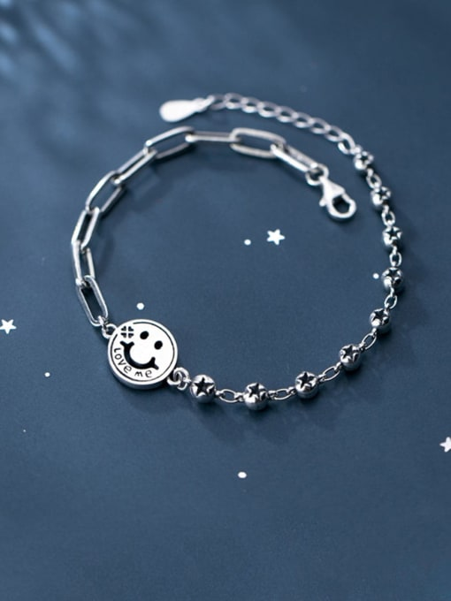 Rosh 925 Sterling Silver Face Minimalist Strand Bracelet