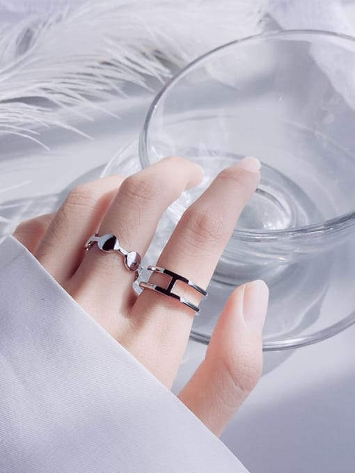 Rosh 925 Sterling Silver Minimalist  Double Layer Free Size Ring 1