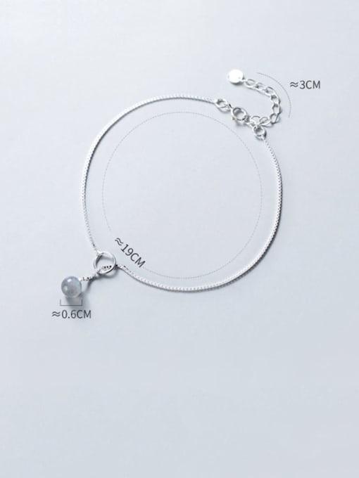 Rosh 925 Sterling Silver  Minimalist  Moonstone Bracelet Link Bracelet 1
