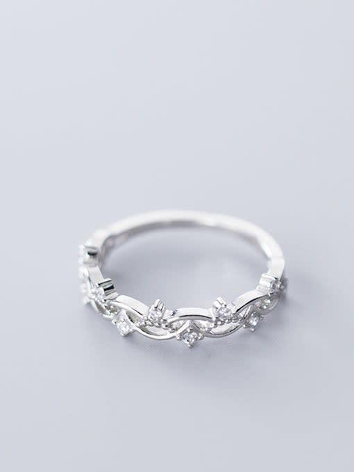 Rosh 925 Sterling Silver Cubic Zirconia Hollow Irregular Minimalist free size Ring 1