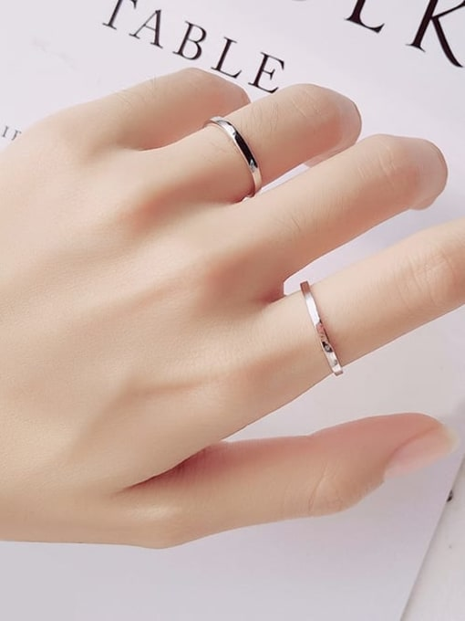 Rosh 925 Sterling Silver  Minimalist Smooth Round Free Size Ring 1