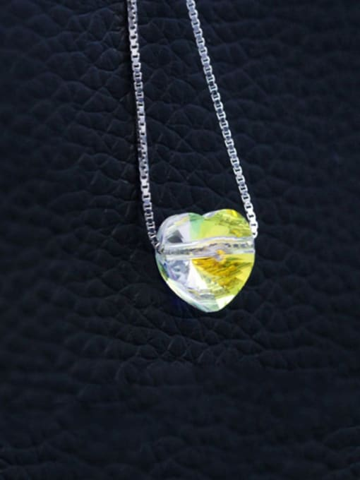 Austrian Crystal Heart 925 Sterling Silver  Austrian crystal shiny colorful pendant Necklace