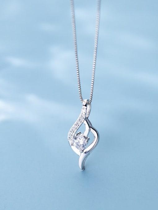 Rosh 925 Sterling Silver Cubic Zirconia Simple geometric shape Pendant  Necklace 1
