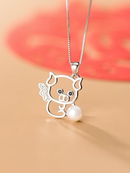 Rosh 925 sterling silver  Fashionable cute diamond pig pendant 1