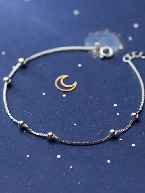 Rosh 925 Sterling Silver Bead Round Minimalist Beaded Bracelet 2