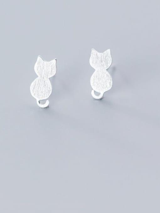 Rosh 925 Sterling Silver Cat Cute Stud Earring 2