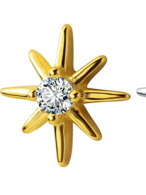 Rosh 925 Sterling Silver Cubic Zirconia Flower Minimalist Stud Earring 3