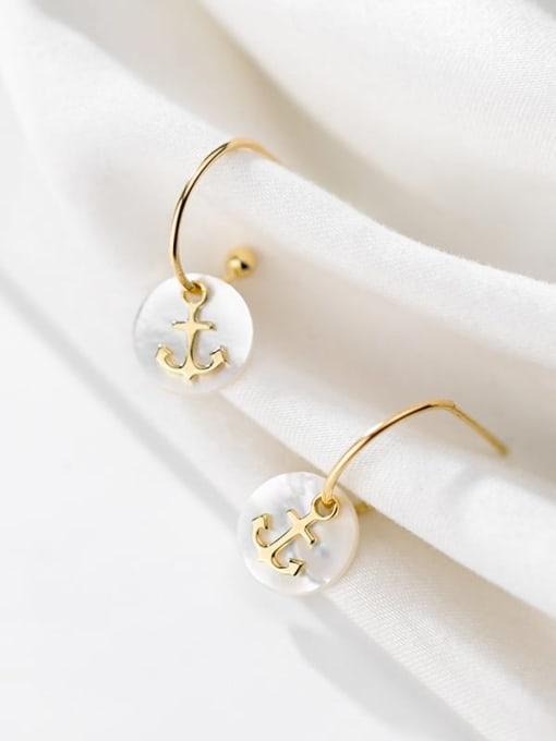 Rosh 925 Sterling Silver Shell  Anchor Trend Hook Earring 1