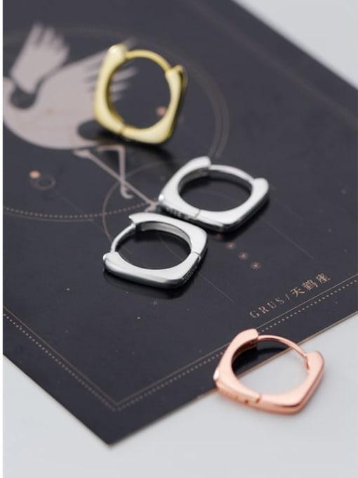 Rosh 925 Sterling Silver Hollos Geometric Minimalist Huggie Earring 1