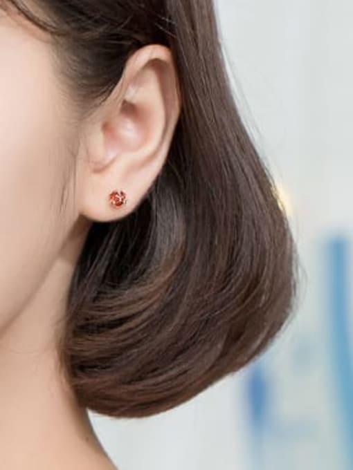 Rosh 925 Sterling Silver Cubic Zirconia Red Irregular Minimalist Stud Earring 2