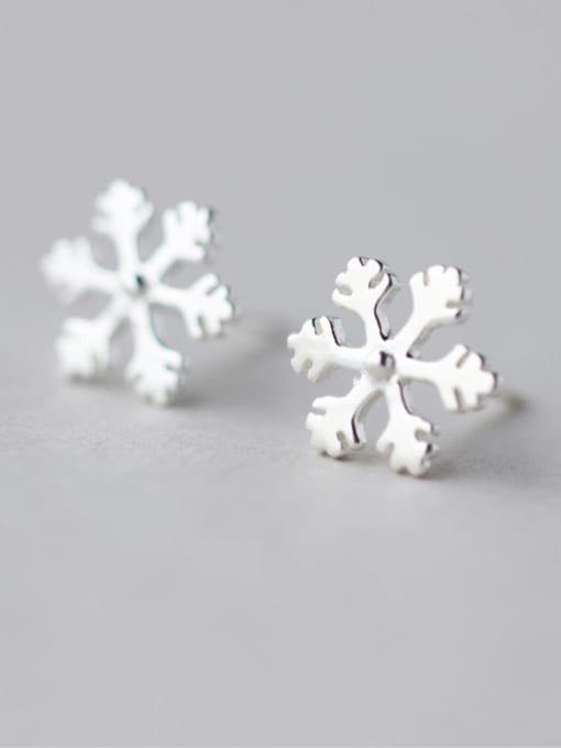 Rosh 925 Sterling Silver  Minimalist  Cute snowflake Stud Earring 0