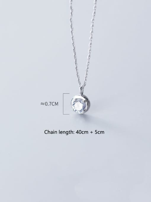 Rosh 925 Sterling Silver Cubic Zirconia round pendant  Necklace 2