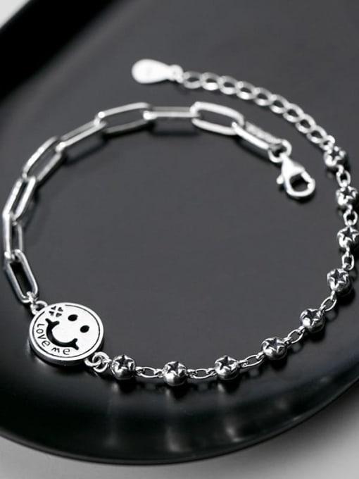 Rosh 925 Sterling Silver Face Minimalist Strand Bracelet 2