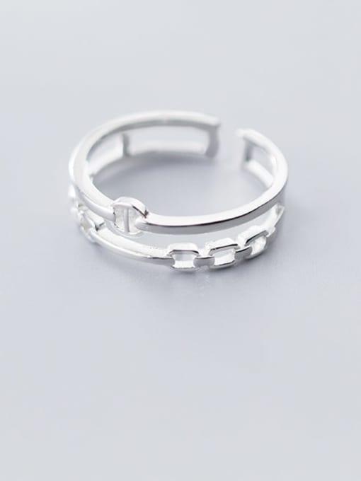 Rosh 925 Sterling Silver Hollow Geometric Minimalist Free Size Ring 1