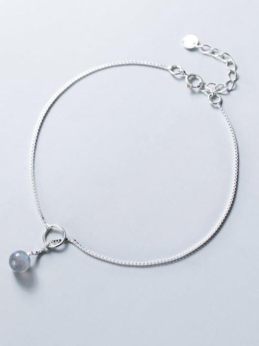 Rosh 925 Sterling Silver  Minimalist  Moonstone Bracelet Link Bracelet 2