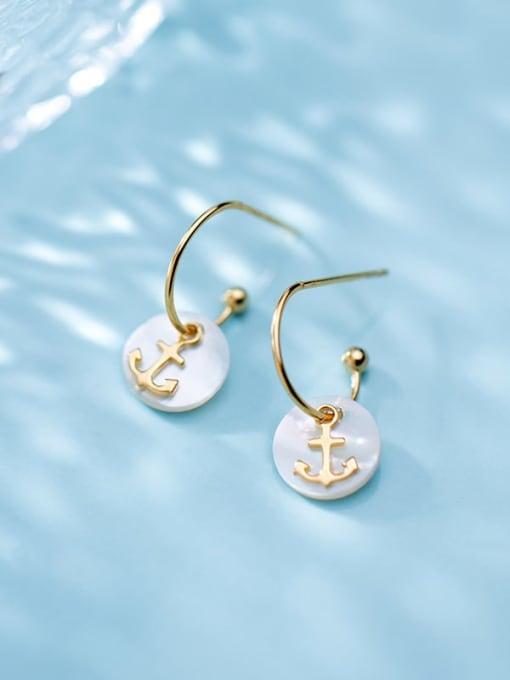 Rosh 925 Sterling Silver Shell  Anchor Trend Hook Earring 2