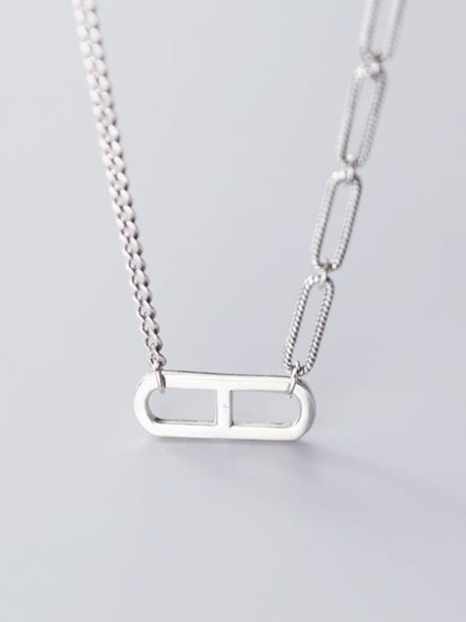 Rosh 925 Sterling Silver Simple hollow geometric pendant Necklace