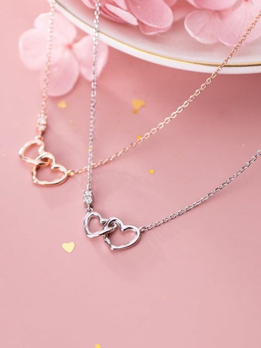 Rosh 925 Sterling Silver Minimalist  Hollow  Heart Necklace 1
