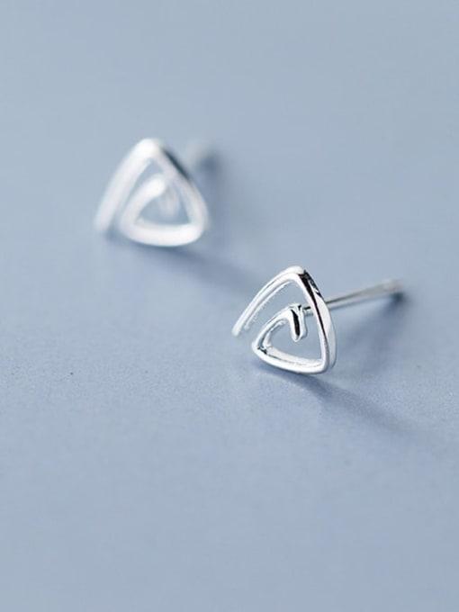 Rosh 925 sterling silver hollow  triangle minimalist stud earring 0