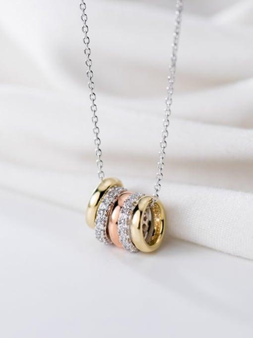 Rosh 925 Sterling Silver Rhinestone Fashion Diamonds Multiple Color Rings Pendants Necklace 1