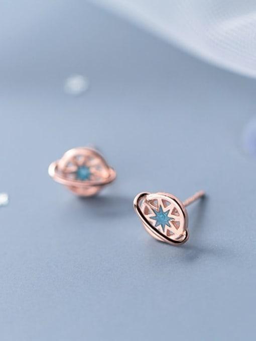 Rosh 925 Sterling Silver  Cute Simple trendy short planet Stud Earring 1