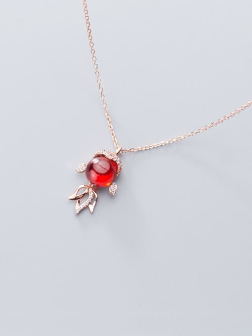 Rosh 925 Sterling Silver Garnet red goldfish Pendant Necklace 3