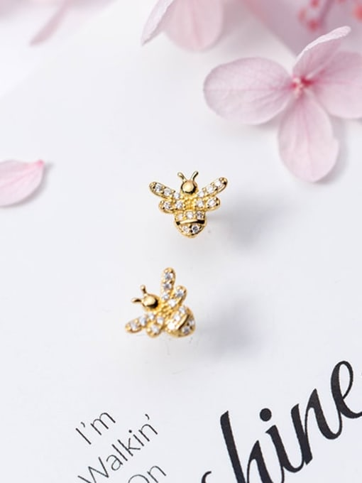 Rosh 925 Sterling Silver Rhinestone  Cute bee Stud Earring 1